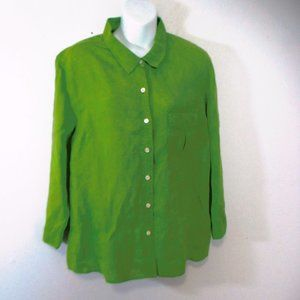 Talbots blouse green Linen size XL